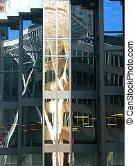 downtown, weerspiegelingen, 2