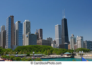 downtown, zomer, straat, aanzicht, chicago