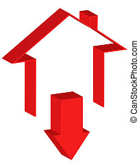Downtrend of the real estate market - Icon representing the...