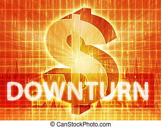 Downturn Finance illustration, dollar symbol over financial...