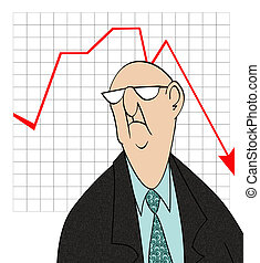 Downturn in Sales - Humorous cartoon of an unhappy...