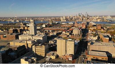 downtwon, ville, aérien, philadelphie, horizon, camden, ...