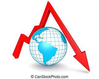 Downward graph with globe - Hi-res original 3d rendered ...