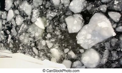 Downward movement of ice cracked, view from boat