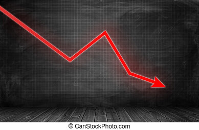 Downwards glowing red arrow on grey statistic grid background