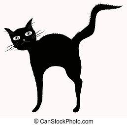 downy, engraçado, levantado, 10, tail., big-eyed, eps, gato,...