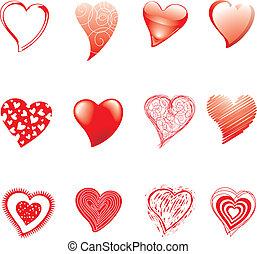 doze, corações