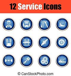 doze, estação, jogo, icons., serviço