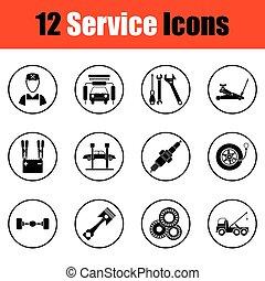 doze, estação, jogo, serviço, ícones