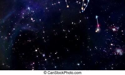 doze, horóscopos, signos, sinal, estrela, rotação