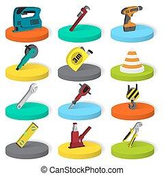 doze, isometric, industrial, cobrança, construção, ferramentas, predios