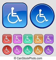 doze, jogo, vindima, sinal., botões, vetorial, incapacitado, ícone, seu, design.