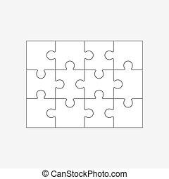 doze, quebra-cabeça, partes jigsaw, 4x3, modelo, em branco