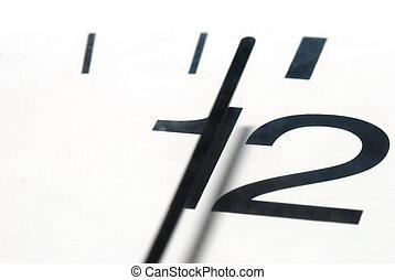 doze, relógio, antes de