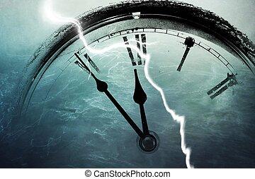 doze, relógio, cinco, retro, minutos, antes de