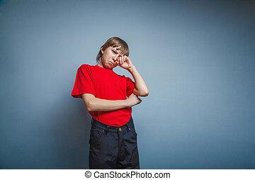 doze, t-shirt, menino, anos, adolescente, mão, sa, lágrimas,...