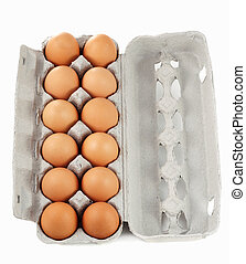 dozen brown eggs - dozen of fresh brown eggs on container