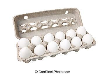 Dozen Eggs - Carton of eggs, includes clipping path