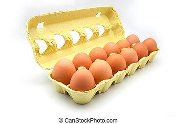 dozen eggs in a cardboard box