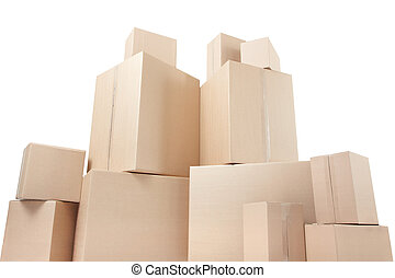 dozen, karton, hoek, laag, aanzicht