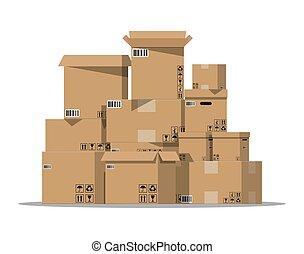 dozen, karton, stapel, set