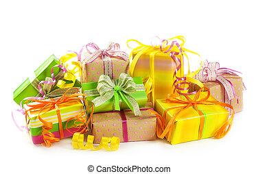 dozen, kleurrijke, stapel, cadeau