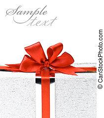 dozen, linten, zilver, cadeau, rood