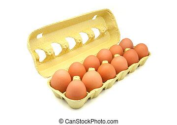 dozen of eggs in a yellow box