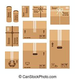 dozen, papier, verpakken, set, mockup, vector, product, ontwerp