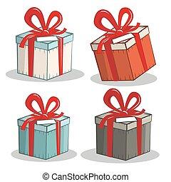 dozen, vector, set, retro, cadeau