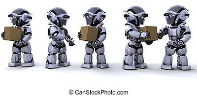 dozen, verhuizing, robots, expeditie