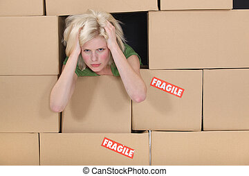 dozen, vrouw, omringde, beklemtoonde