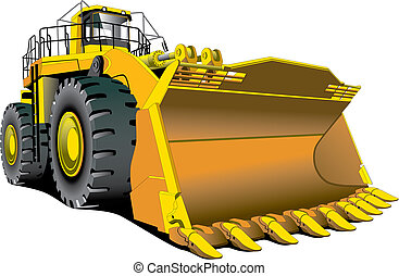 dozer - Detailed vectorial image of large dozer isolated on...