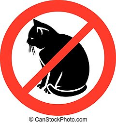 dozwolony, koty, ikona, znak, nie, (prohibition, symbol), ...