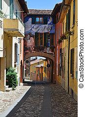 dozza., italy., emilia-romagna., alleyway.