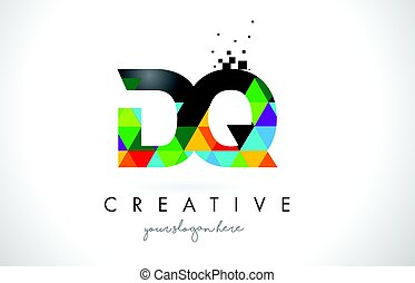 DQ D Q Letter Logo with Colorful Triangles Texture Design Vector.
