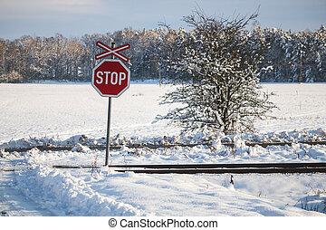dráha, krajina, firma, sněžný, cesta, zima, clona