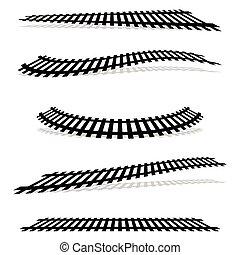dráha, metro, doprava, effect., silhouettes, překroucení, ...