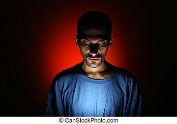 drámai, sötét, portré, közül, fiatalember