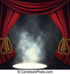 drámai, színház, reflektorfény, fokozat