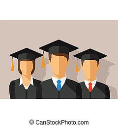 dräkt, begrepp, deltagare, gradindelning, vektor, murbruksbräda, utbildning