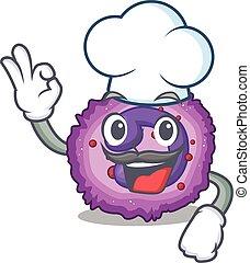 dräkt, vit, eosinophil, tecken, hatt, cell, kock, tecknad film, tröttsam