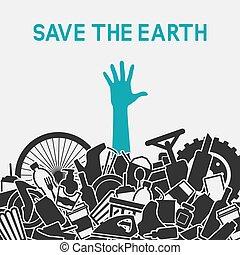 dränk, avskräde, concept., planet, waste., mänsklig, räddning, littering, man
