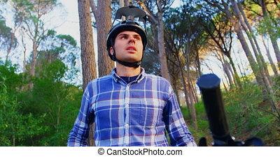 dróżka, patrząc, rower, człowiek, 4k