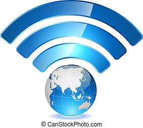 drótnélküli távíró, hálózat, mutat, concept., teljes belépés