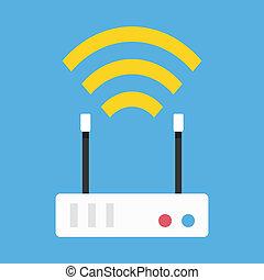 drótnélküli távíró, router, vektor, hálózat, ikon