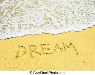 dröm, ord, skriftligt, in, den, sandig badstrand