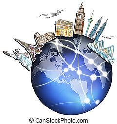 dröm, resa, runt om världen, in, a, whiteboard