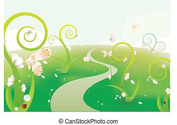 dröm, trädgård