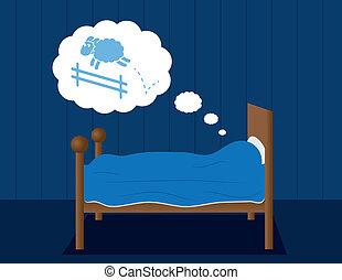 drömma, sheep, säng
